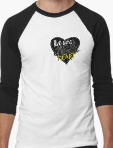 """Jet Black Heart"" By 5 Seconds Of Summer Lyric Drawing Men's Baseball ¾ T-Shirt"
