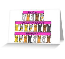 Cats celebrating fabulous pink gay birthday. Greeting Card