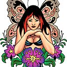 Gothic Fairy with Wings and Flowers by alrioart