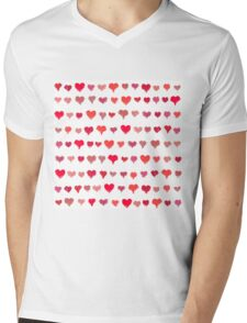 Painted hearts seamless pattern Mens V-Neck T-Shirt