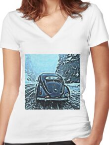 Icey Road Women's Fitted V-Neck T-Shirt