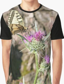 Scarce Swallowtail Butterfly and Thistle Graphic T-Shirt