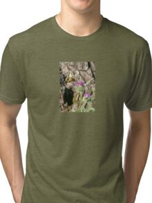 Scarce Swallowtail Butterfly and Thistle Tri-blend T-Shirt
