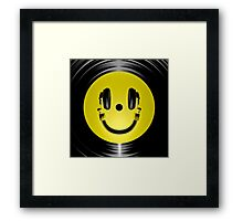 Vinyl headphone smiley Framed Print