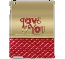 Love You Elegant Metallic Gold Quilted Red Leather iPad Case/Skin