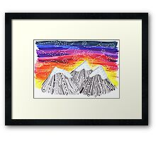 Three Mountain Sunset - Indie Watercolor Design Framed Print