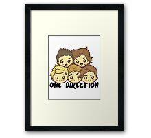 One Direction Cartoony Faces! Framed Print