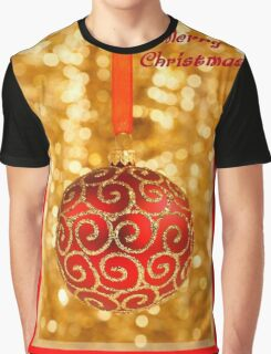 Merry Christmas Bauble on Gold With Red and Gold Border Graphic T-Shirt
