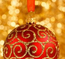 Merry Christmas Bauble on Gold With Red and Gold Border Sticker