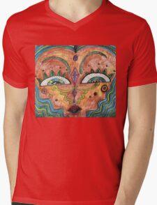 Abstract Face Mens V-Neck T-Shirt