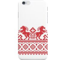 Cross-stitch red pull horses  iPhone Case/Skin