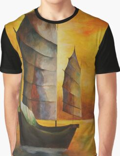 Golden Chinese Junk In Shades Of Ochre and Umber Graphic T-Shirt