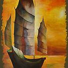Golden Chinese Junk In Shades Of Ochre and Umber by taiche