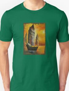 Golden Chinese Junk In Shades Of Ochre and Umber Unisex T-Shirt