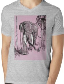 Pink Elephant Mens V-Neck T-Shirt