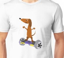Funny Cool Dachshund on Hoverboard Unisex T-Shirt