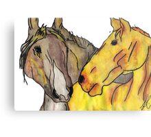 Grey & Tan Horses Metal Print