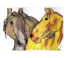 Grey & Tan Horses Poster