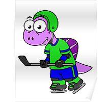 Illustration of a Spinosaurus hockey player. Poster