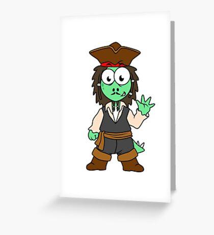 Illustration of a Stegosaurus pirate, Jack Sparrow. Greeting Card