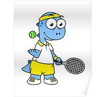 Illustration of a Tyrannosaurus Rex tennis player. Poster
