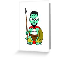 Illustration of a Tyrannosaurus Rex dressed as Leonidas. Greeting Card