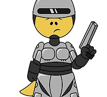 Illustration of a Tyrannosaurus Rex dressed as Robocop. by StocktrekImages