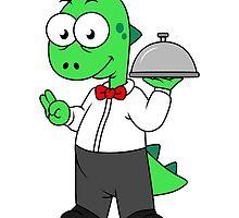 Illustration of a Tyrannosaurus Rex food waiter. by StocktrekImages