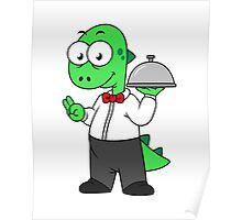 Illustration of a Tyrannosaurus Rex food waiter. Poster