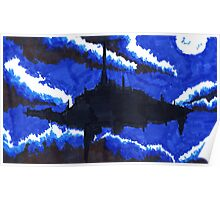floating city night sky Poster