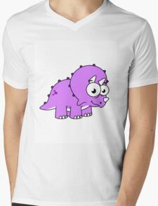 Cute illustration of a Triceratops. Mens V-Neck T-Shirt