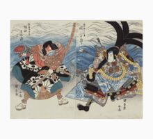 Actors Seki Sanjuro And Sakata Hanguro - Kuniyasu Utagawa - 1815 - woodcut One Piece - Short Sleeve