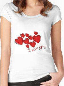 I Love You Valentine Hearts With Greeting Women's Fitted Scoop T-Shirt