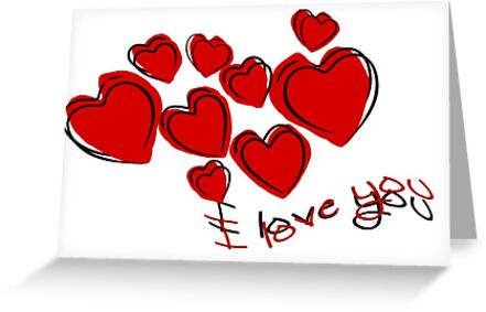 I Love You Valentine Hearts With Greeting by taiche