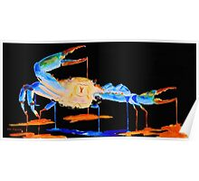 Blue Crab On Black Poster