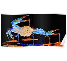 Blue Crab On Black Poster