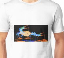 Blue Crab On Black Unisex T-Shirt