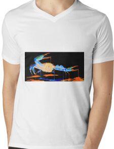 Blue Crab On Black Mens V-Neck T-Shirt