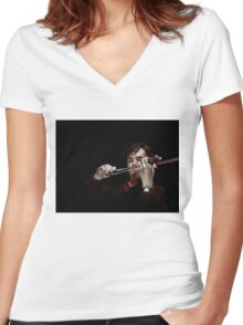The Violinist Women's Fitted V-Neck T-Shirt