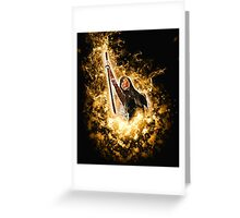 Avenging angle with a flaming sword rising from flames  Greeting Card