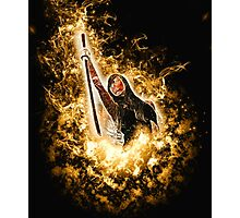 Avenging angle with a flaming sword rising from flames  Photographic Print