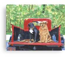 Antique Fire Truck with Dogs Canvas Print