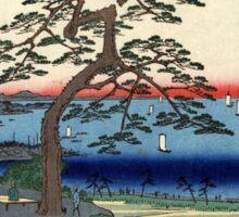 Armor Hanging Pine Hakkeizaka - Hiroshige Ando - 1856 - woodcut Sticker