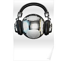 Headphone disco ball Poster