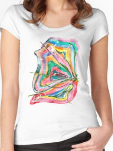 Unknown Butterfly - Small Abstract Landscape, watercolor, ink & pencil on paper Women's Fitted Scoop T-Shirt