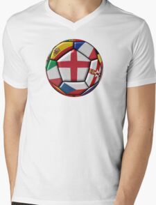 Soccer ball with flag of England in the center Mens V-Neck T-Shirt