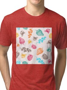 Sweet hand drawing vector seamless pattern. Berry sketch illustration Tri-blend T-Shirt