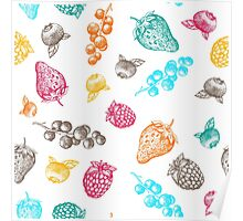 Sweet hand drawing vector seamless pattern. Berry sketch illustration Poster