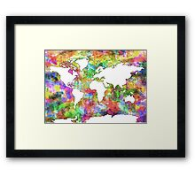 World Map watercolor 6 Framed Print