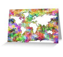 World Map watercolor 6 Greeting Card